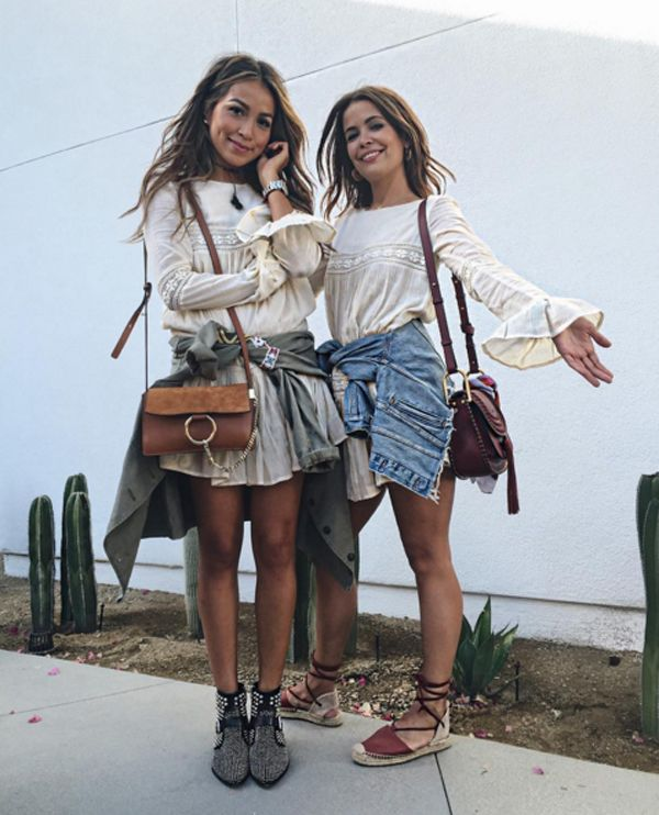 Julie Sariñana and Sara from Collage Vintage in Tularosa label dress