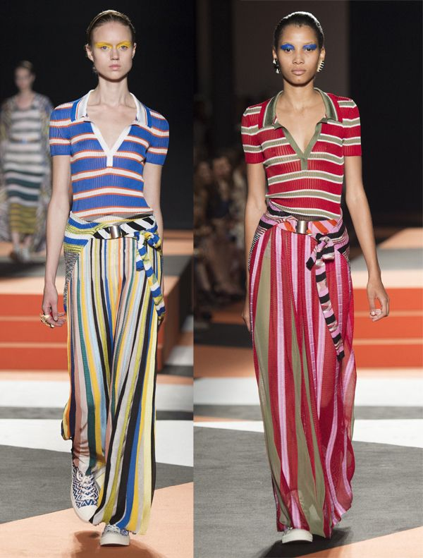 Different size and direction stripes (by  Missoni SS16)