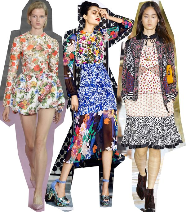 Mixed florals (by Emilia Wickstead, Duro Olowu and Coach SS16)