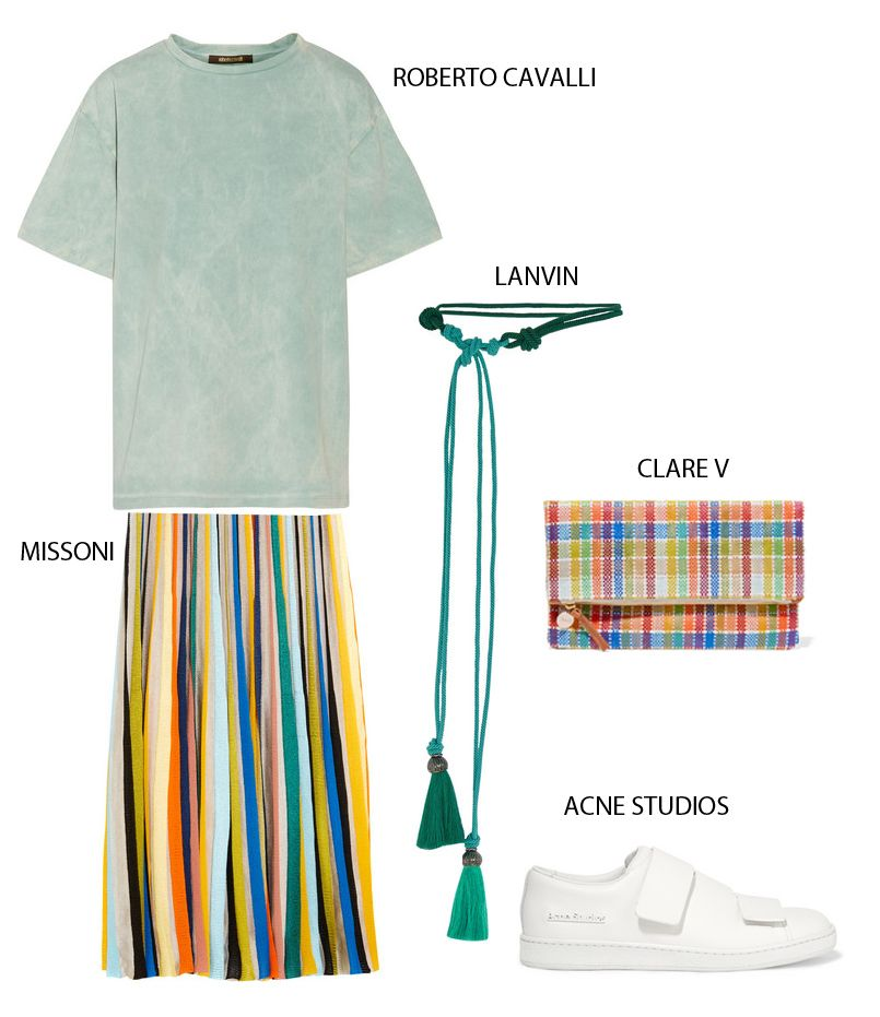 Roberto Cavalli tie-dye cotton-jersey T-shirt available at NET-A-PORTERMissoni striped crochet-knit maxi skirt available at NET-A-PORTERLanvin tasseled cord belt available at NET-A-PORTERClare V canvas clutch available at NET-A-PORTERAcne Studios triple leather sneakers available at NET-A-PORTER