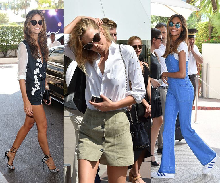 Izabel Goulart, Toni Garrn and Jourdan Dunn are seen during the annual 69th Cannes Film Festival.