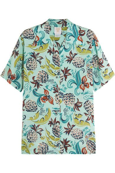 From Anna Sui's SS16 Tahiti and Honolulu collection: pineapple print  crepe de chine shirt available at NET-A-PORTER