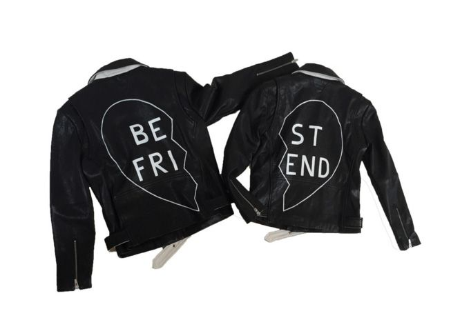 Veda's best friend leather jacket is hand-painted