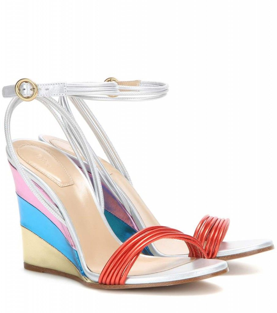 Chloé metallic lether wedge sandals with multiple ankle straps available at MYTHERESA.com