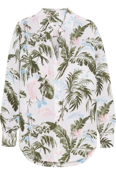 Equipment Signature tropical forest print washed-silk shirt available at NET-A-PORTER