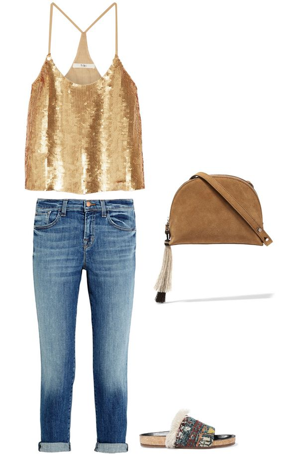 gold-sequined-top-casual-outfit-inspiration