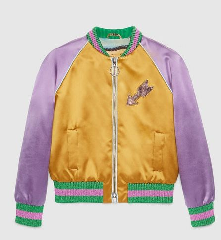 Gucci embroidered silk bomber jacket from its Pre-Fall 2016 collection available at GUCCI.com