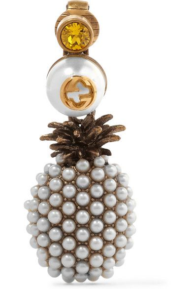 Gucci gold-plted faux-pearl and crystal pineaplle earrings available at NET-A-PORTER