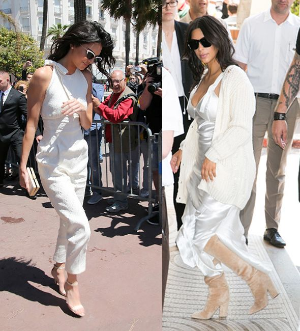 Kendall Jenner out in Cnnes wering Emilia Wicksted and Kim Kardashian wering Calvin Klein Collection