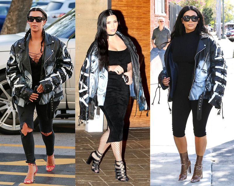 Kim Kardashian mastering the trend in her favourite personalized Yeezy biker jacket