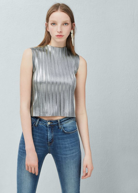 Mango pleted fabric silver metallic top available HERE