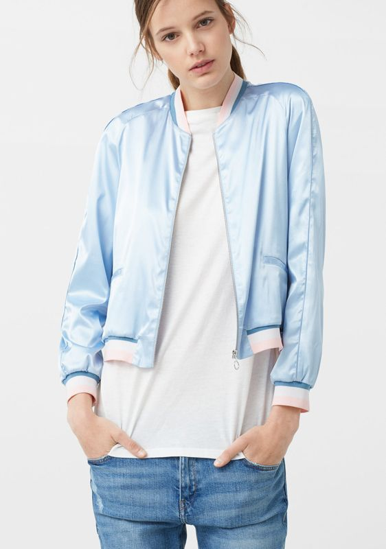 Mango sky blue satin bomber jacket available at MANGO.com