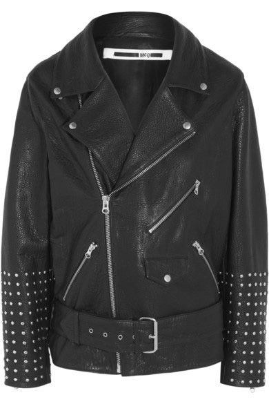 McQueen oversized studded black textured-leather biker jcket vilable at NET-A-PORTER