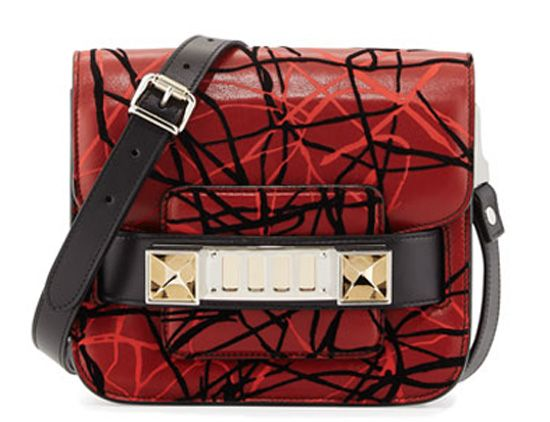 Proenza Schouler PS11 scribble print red leather satchel bag available HERE