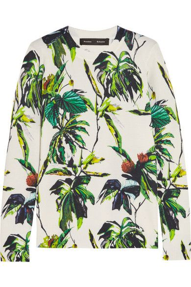 Proenza Schouler foliage print wool-blend sweater available at NET-A-PORTER