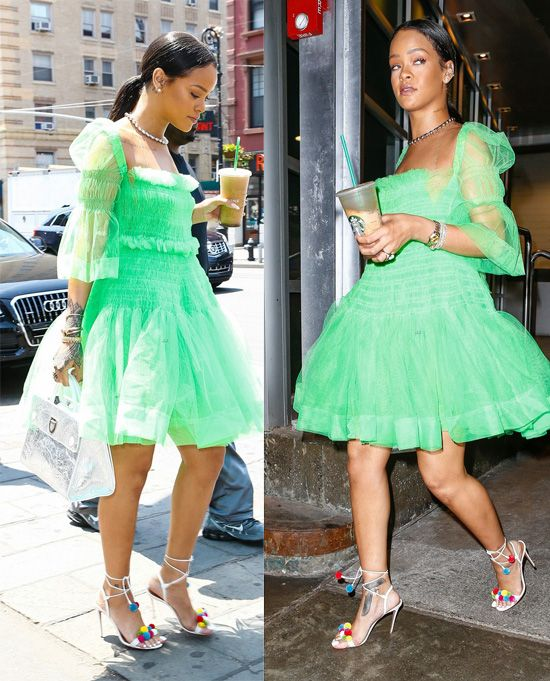 rihanna-wears-aquazzura-pompom-embellished-sandals