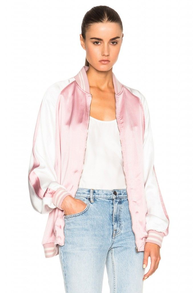 Saint Laurent Teddy oversized bicolor bomber jacket available at FORWARD BY ELYSE WALKER