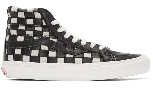 Vans SK8-Hi black and white woven leather sneakers available at SSENSE.com