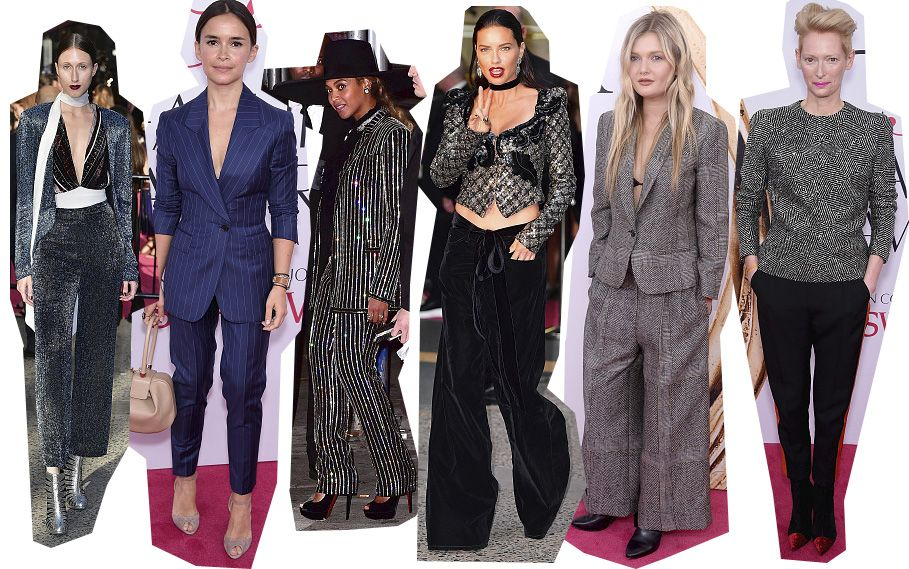 Pants and suits on the red carpet.