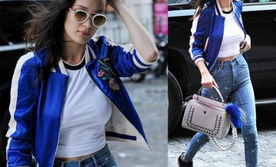 bella-hadid-maje-embroidered-bomber-outfit-street-style