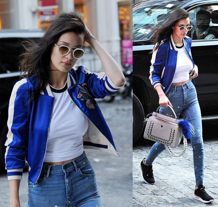 Get Bella Hadid's Maje embroidered bomber jacket