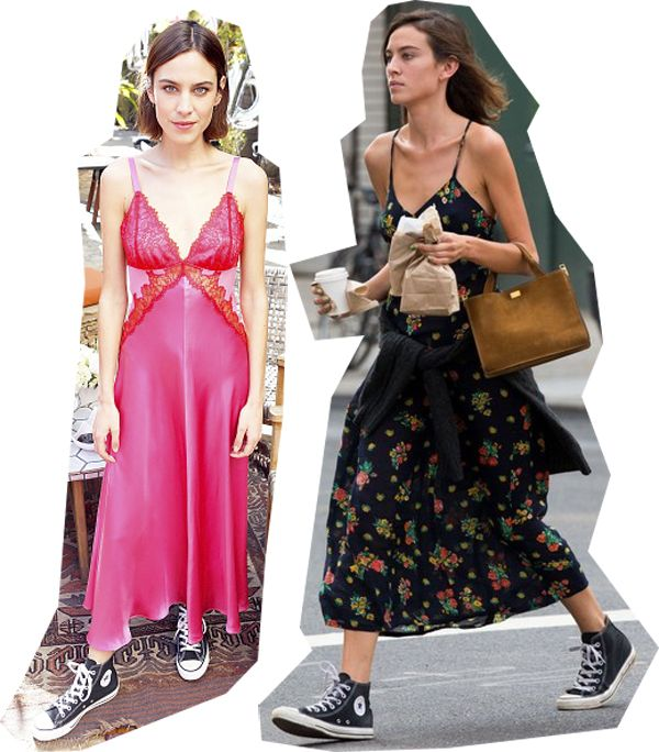 Alexa Chung and the Converse Chuck Taylor All Star high-top sneakers (in canvas): Spring 2016 look Vs. Spring 2015 look