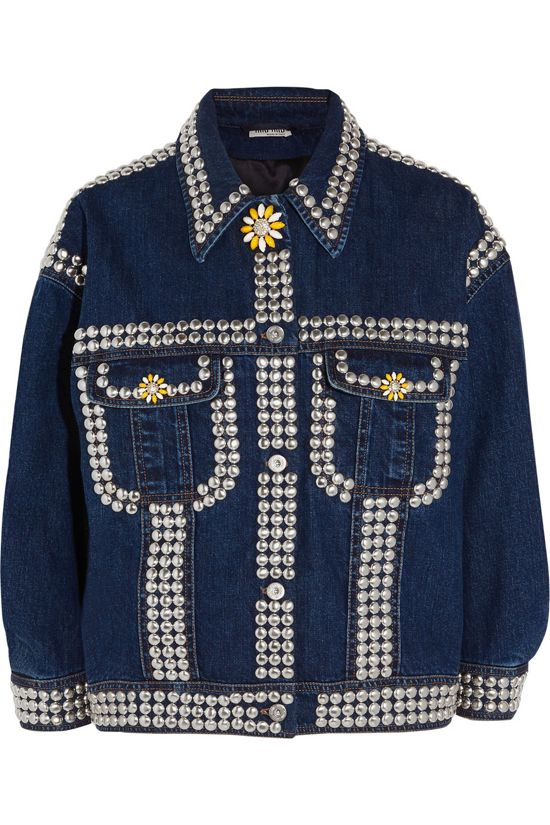 Investment piece alert: Miu Miu oversized embellished denim jacket (similar to Chiara's) vilable at NET-A-PORTER
