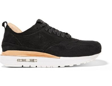 Her sneakers are Nike NikeLab Air Max 1 Royal faux suede and leather sneakers