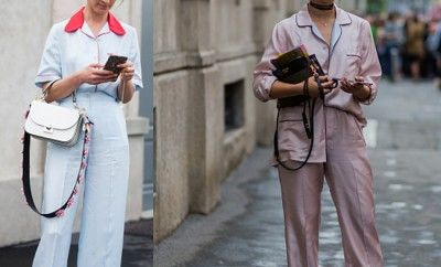Hanneli Mustaparta Vs. Margaret Zhang wering pajamas during the Milan Men's Fashion Week Spring/Summer 2017 on June 19, 2016 in Milan.