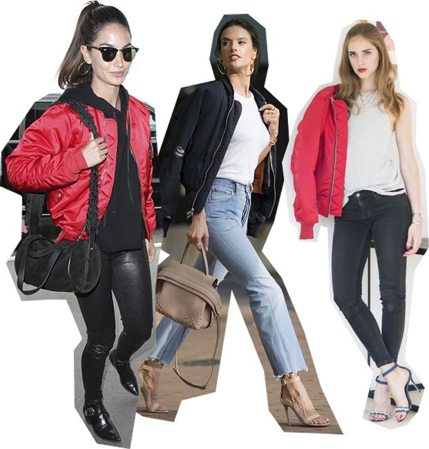 Lily Aldridge, Alessandra Ambrosio and Chiara Ferragni all wearing Unravel bomber jackets.