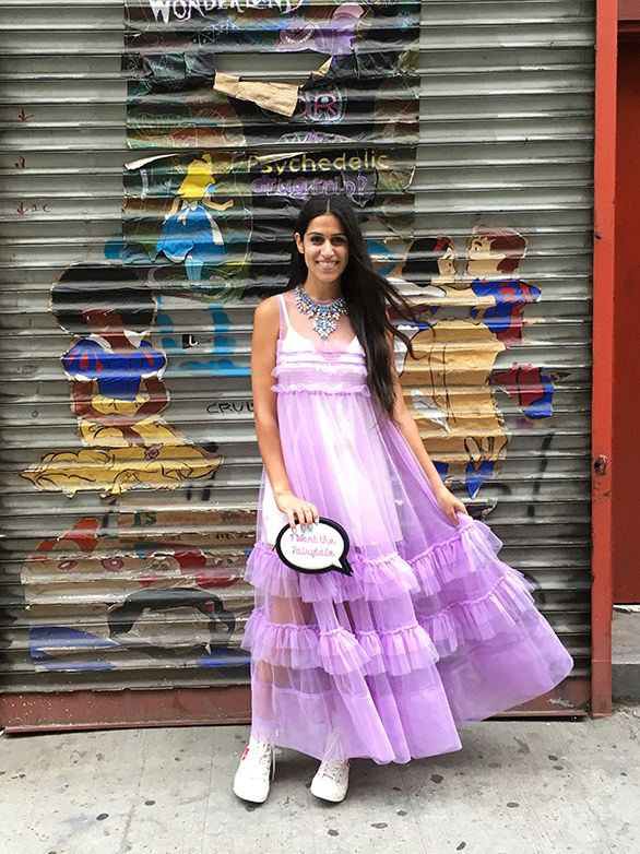 Anahita Moussavi, deputy fashion editor for The New York post, posing for Man Repeller in a Nasty Gal ball gown
