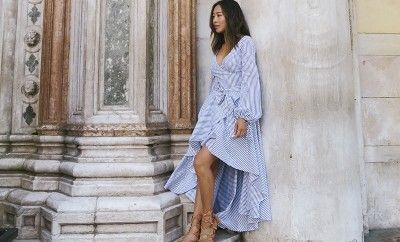 Aimee Song exploring Burano and Burano in the Lena dress available HERE