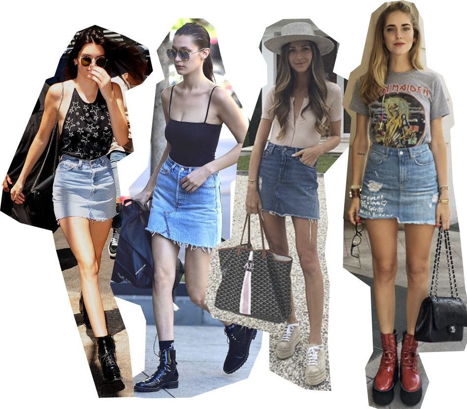 Kendall Jenner, Bella Hadid , Arielle Charnas and Chiara Ferragni all wearing denim miniskirt this summer.