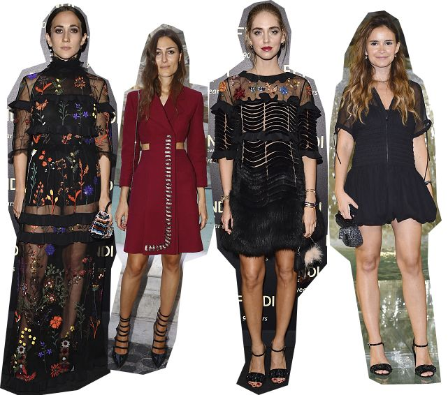 Delfina Dlttrz Fendi, Giorgia Tordini, Chiara Ferragni and Miroslava Duma attnd th cocktail party held after Fendi Roma 90 years anniversary Fashion Show.