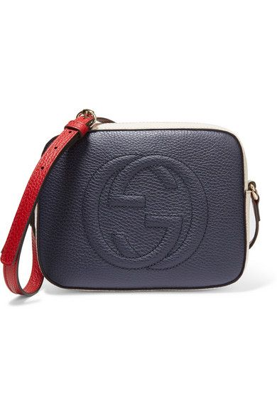 Gucci Soho Disco navy, red and off-white textured-leather bag available at NET-A-PORTER