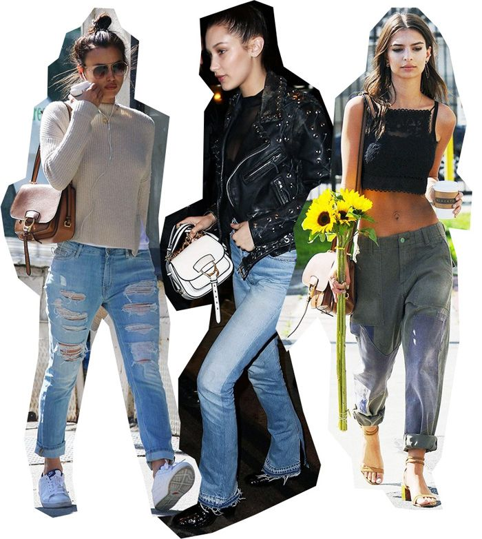 Irina Shayk, Bella Hadid and Emily Ratajkowski carrying the Dahlia bag.