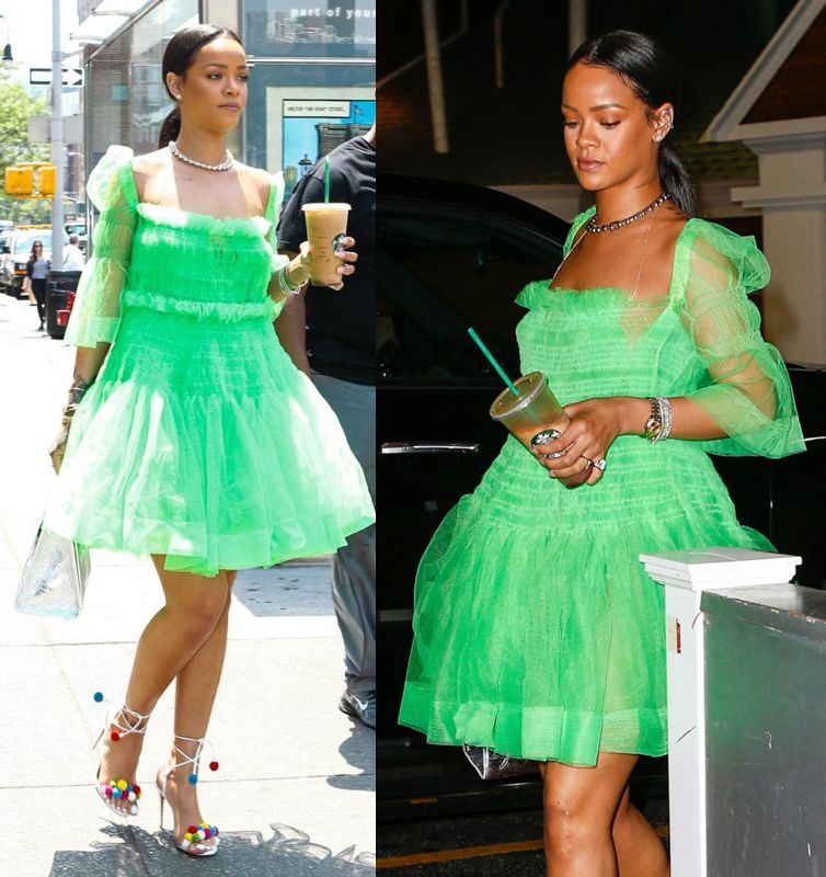 Rihanna in a Molly Goddard Spring Summer 2016 green tulle dress.