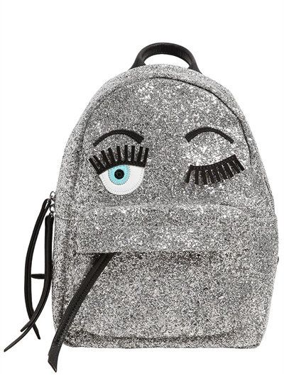 Chiara Ferragni Collection Flirting Eyes glitter mini backpack available at LUISAVIAROMA.com