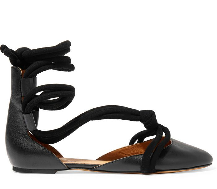 Isabel Marant Lois lace-up ballerina flats in black leather availabe at NET-A-PORTER