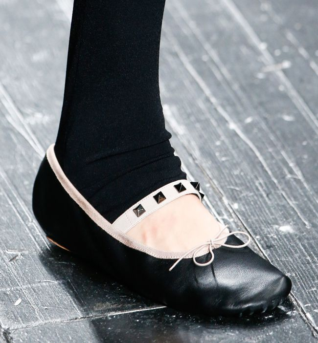 Valentino Rockstuc ballerina flat in black leather (also available in poudre) HERE