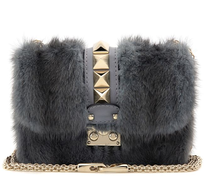 Pre-Fall 2016 Valentino Lock Mini pale blue mink and leather shoulder bag available at MYTHERESA.com