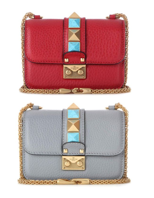 Valentino Lock Mini Rockstud Rolling leather shoulder bag with contrasted gold-tone metal and turquoise pyramid studs, in red leather available HERE and in grey leather available HERE