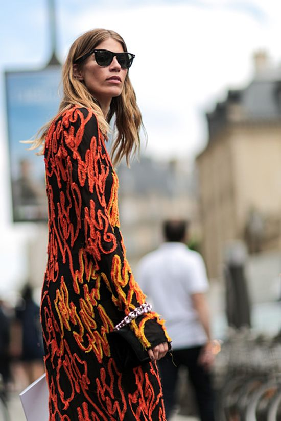 Veronika Hilbrunner in a flame print dress out in Paris for Paris Fashion Week Haute Couture FW16