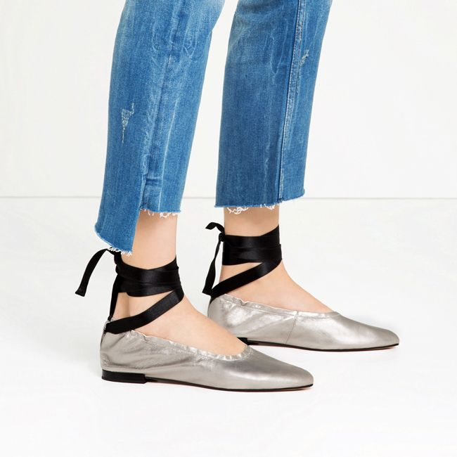 Zara lace-up silver metallic leather ballet flats.