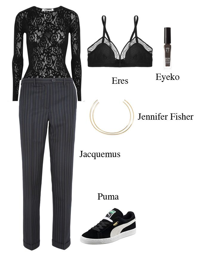 cara-delevingne-pinstriped-suit-lace-shirt-bra-outfit-inspiration