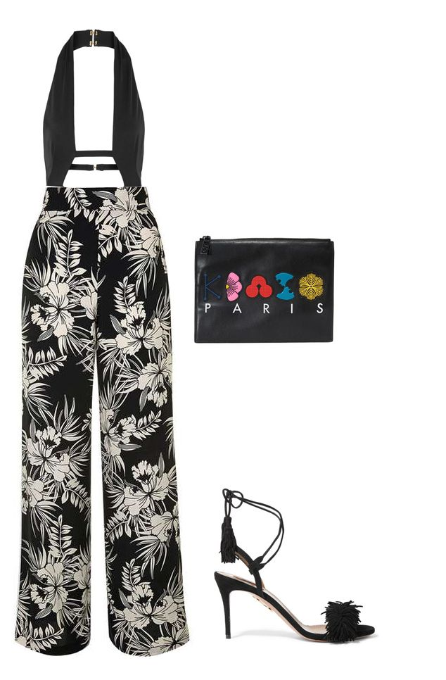 Anja cutout swimsuit available at NET-A-PORTER TopShop floral print wide leg trousers available HERE Aquazzura Wild Thing black suede fringed sandals available at NET-A-PORTER