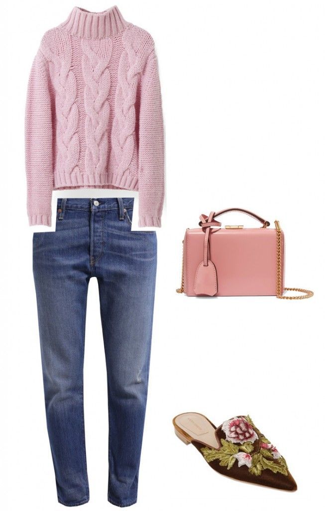 Camille's pink sweater by Ganni is available HERE