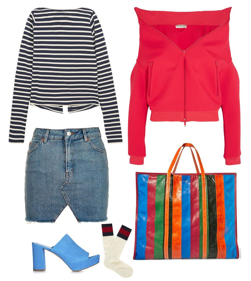 denim-mini-skirt-fall-outfit-street-style-inspiration-mansur-gavriel-mules-balenciaga-bazar-xl-bag