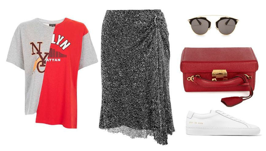 TopShop T-Shirt available HERE Dion Lee draped embellished skirt available HERE
