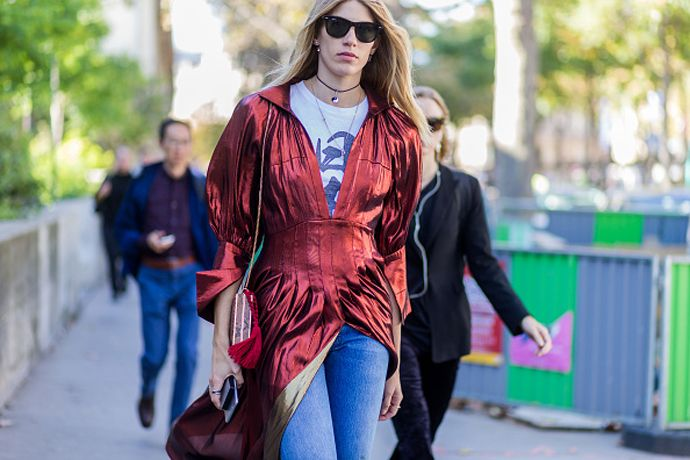 How to wear a dress over your favourite jeans this fall